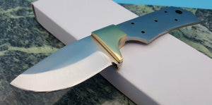 "Knife Making Fixed 2 5/8"" Blade Blank Full Tang with Brass Guard"