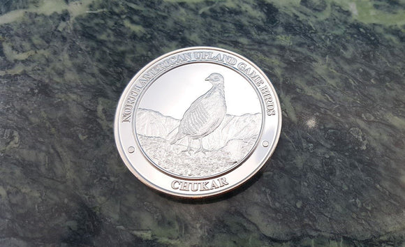 North American Chukar Partridge NAHC Upland Game Bird Silver Collector Coin - Big Sky Knife