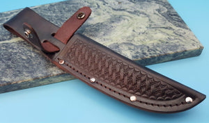 "Basketweave Leather 5"" Straight Fixed Blade Hunting Knife Sheath Various Colors"
