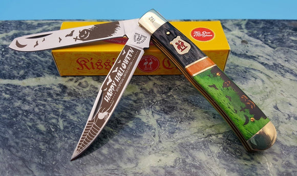 Kissing Crane 2019 Halloween Trapper Limited Ed. Folding 2 Blade Pocket Knife