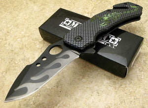 Milspec Survival Emergency Folding Blade Knife Scorpion Imitation Carbon Fiber - Big Sky Knife