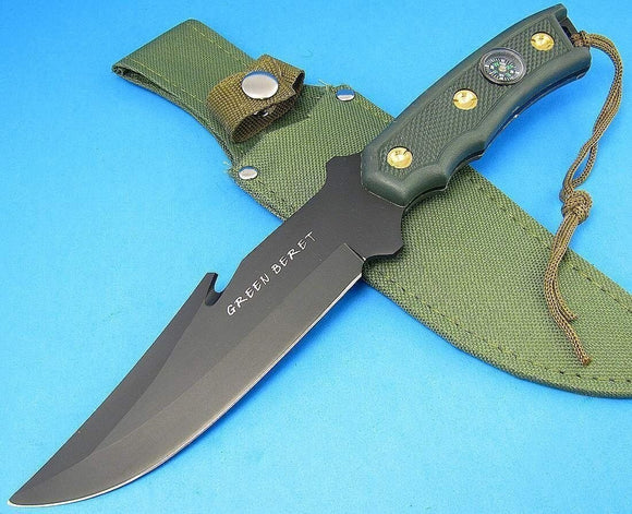 Survival Green Compass Handle Black Guthook Fixed Blade Bowie Knife  w sheath - Big Sky Knife