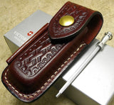 VICTORINOX Medium Leather Zermatt Swiss Army Folding Knife Pouch Sheath w/ Steel
