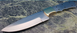 Fixed Blade Knife Finger Groove Drop point Blank Full Tang Brass Guard Length 9""