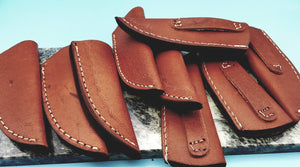 "Lot of 9 Leather Fixed Blade Knife Belt Sheath for up to 4"" Blades FS"