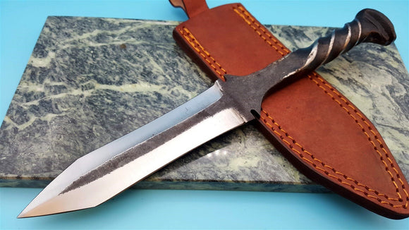 Railroad Spike Double Edged Fixed blade Dagger Knife Forged Twist Style w Sheath