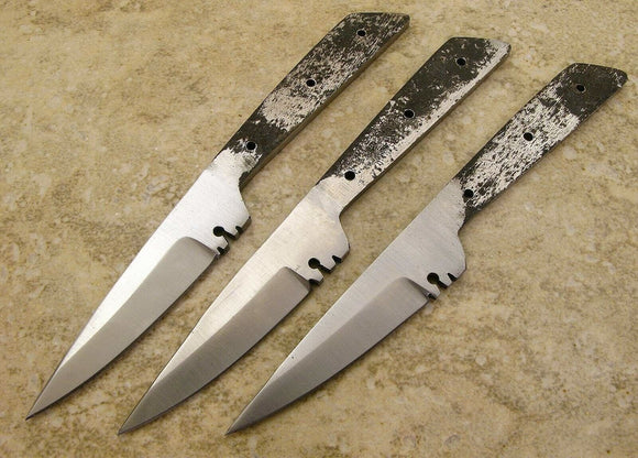 QTY of THREE Patch Knife Making Fixed Blade Full Tang Blank 5 1/2