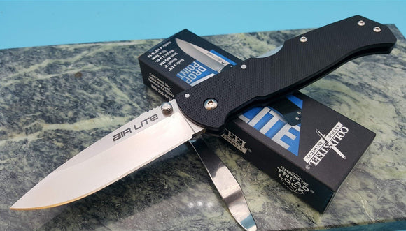 Air Lite Folding Blade Drop Point Lockback Pocket Knife G10 Handle Tri-Ad Lock