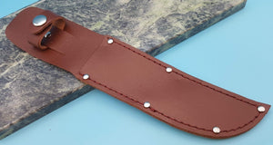 "Brown Leather economy Belt Sheath for 6+"" Fixed Blade Hunting Knife"