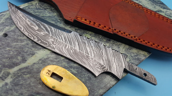 Knife Making Damascus Fixed Blade Blank with hiddenTang and Brass Guard 6.5