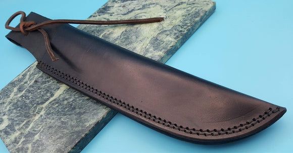 Large Black Leather Fixed Blade Bowie Knife Belt Sheath Lace Up to 10 1/2