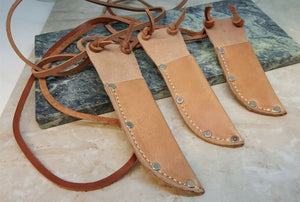 "3 Sizes USA Handmade Leather Fixed Blade Knife Belt Sheath for up to 3"" Blades - Big Sky Knife"