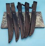 "Lot of 5 Black Leather Fixed Blade Fillet Knife Sheath 7"" Blades"