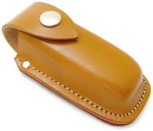 "Caramel Leather Folding Knife Belt Sheath Pouch Swiss Style to 4"" closed Knives"