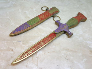 Vintage Fixed Blade Brass Letter  Opener Knife - Big Sky Knife
