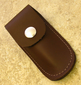 "small brown leather sheath for folding knives up to 3 3/4"" closed - Big Sky Knife"