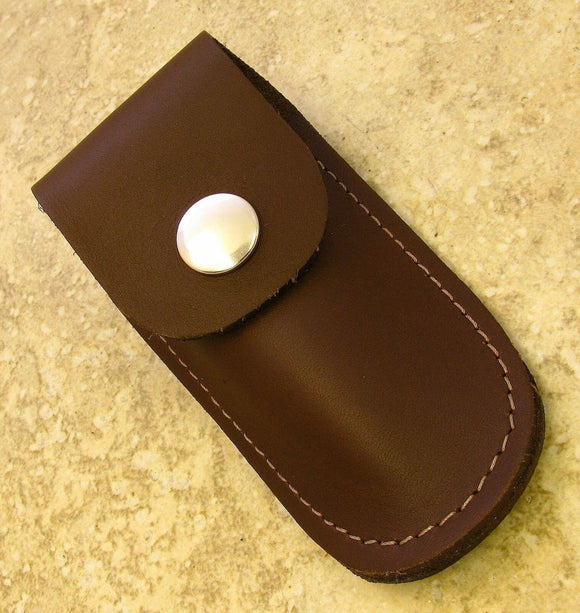 small brown leather sheath for folding knives up to 3 3/4