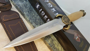 Joker Vikingo Knife Olive wood handle with Brass Horn Guard Fixed Blade Knife - Big Sky Knife