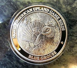 North American Blue Grouse NAHC Upland Game Birds Silver Plate Collector Coin - Big Sky Knife
