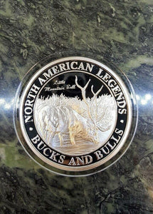 Bucks and Bulls Little Mountain Bull NAHC Big Game Silver Plate Collector Coin - Big Sky Knife