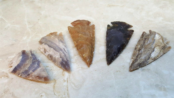 5 pack Arrowhead Assortment - Five Med. Hand made Jasper Agate 2.5