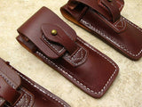 QTY 0f THREE Brown Leather Carry-All Sheath for Folding Blade Pocket Knife - Big Sky Knife