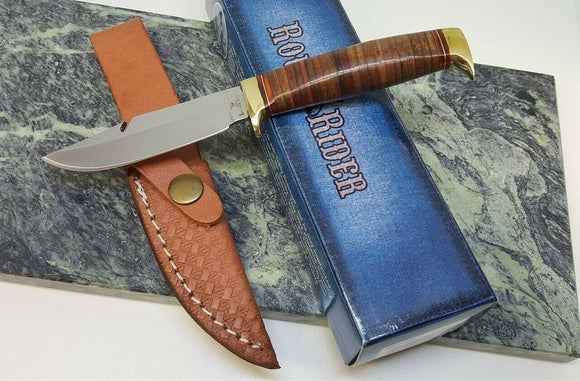 Rough Rider Guthook Knife Game Skinner Hunter Stacked Leather Handle Fixed Blade - Big Sky Knife