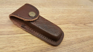 "Brown Leather Sheath For up to 4 1/8"" Folding Pocket Knife - Big Sky Knife"