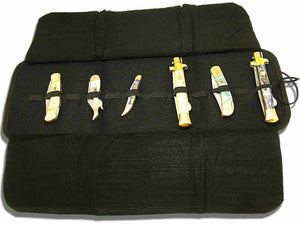 SAFE AND SOUND Folding 12 Knife Collection Roll Storage Carry Case Display Black