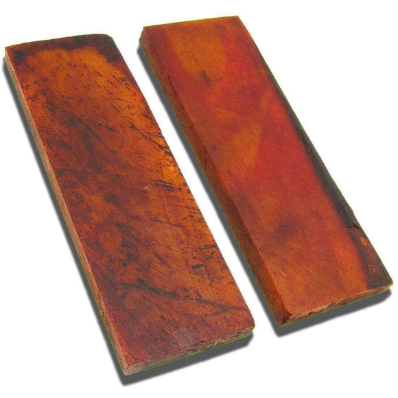 Set of 2 Brown Red Smooth Bone Fixed /Folding Knife Making Handle Scale Slabs - Big Sky Knife