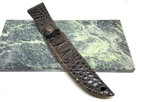 "Leather Straight Fixed 6 1/2"" Blade Knife Belt Sheath Crocodile Pattern - Big Sky Knife"