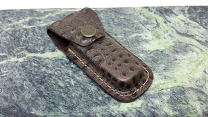Crocodile Pattern Leather Folding Knife Belt Sheath for Closed Knives 3 3/4""