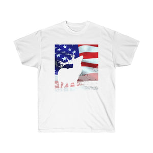 American Hunter Flag Deer Elk Hunting Rocky Mountains USA Unisex Ultra Cotton Tee