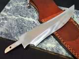 Knife Making mirror polished 6.5 in. Blade Blank Hidden tang File Work