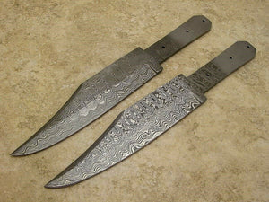 QTY of 2 DAMASCUS COFFIN Handle Bowie Knife Making BLADE Blanks - Big Sky Knife
