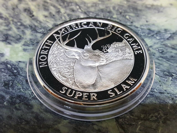North American Hunting Club Super Slam Silver Plate Collector Coin whitetail 001 - Big Sky Knife