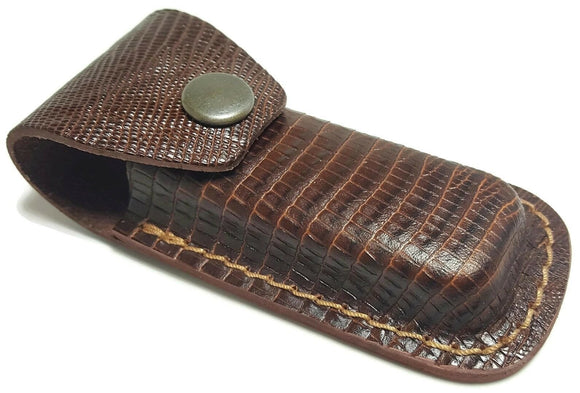 Lizard Pattern Leather Folding Blade Knife Belt Sheath for Closed Knives to 4in - Big Sky Knife
