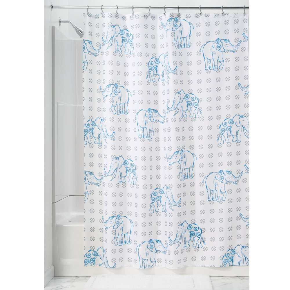 ELEPHANT SHOWER CURTAIN GRAY/BLU