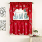 METALLIC SNOWFLAKE KITCHEN CURTAIN