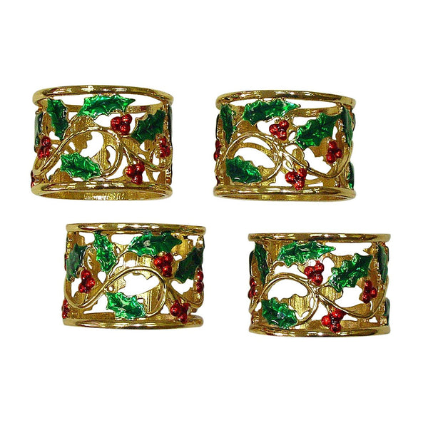 LENOX HOLLY & BERRIES NAPKIN RINGS SET OF 4