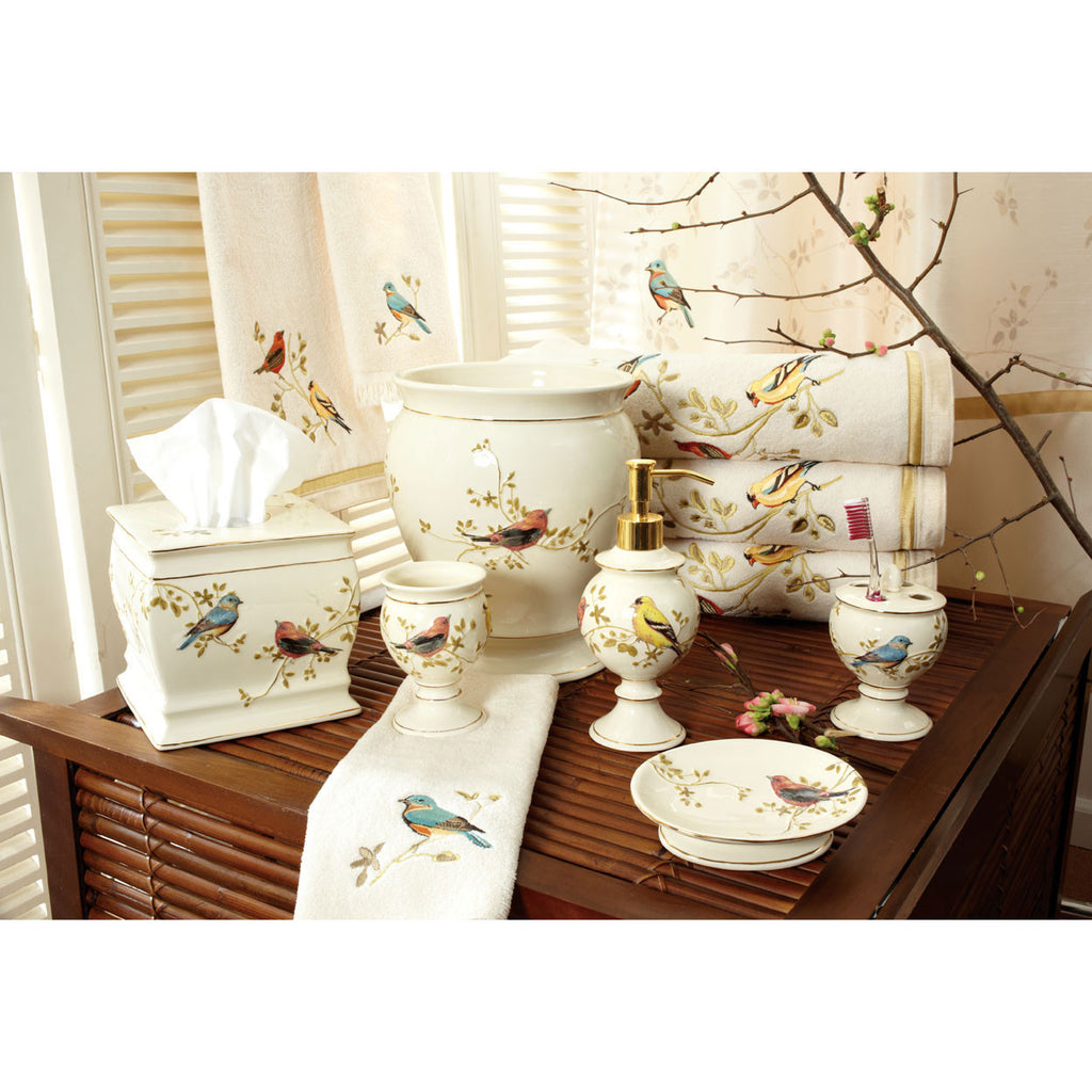 AVANTI GILDED BIRDS BATH ACCESSORIES MULTI