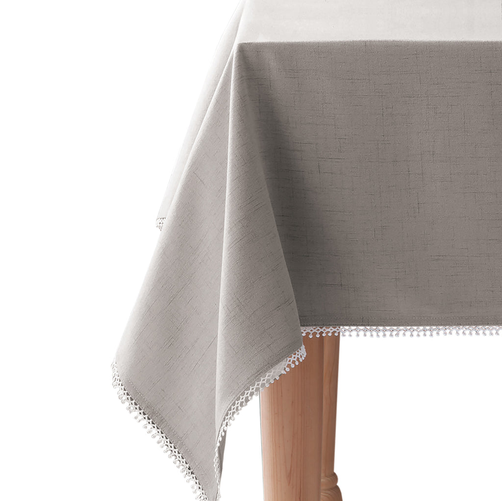 lenco french perle solid tableclloth grey