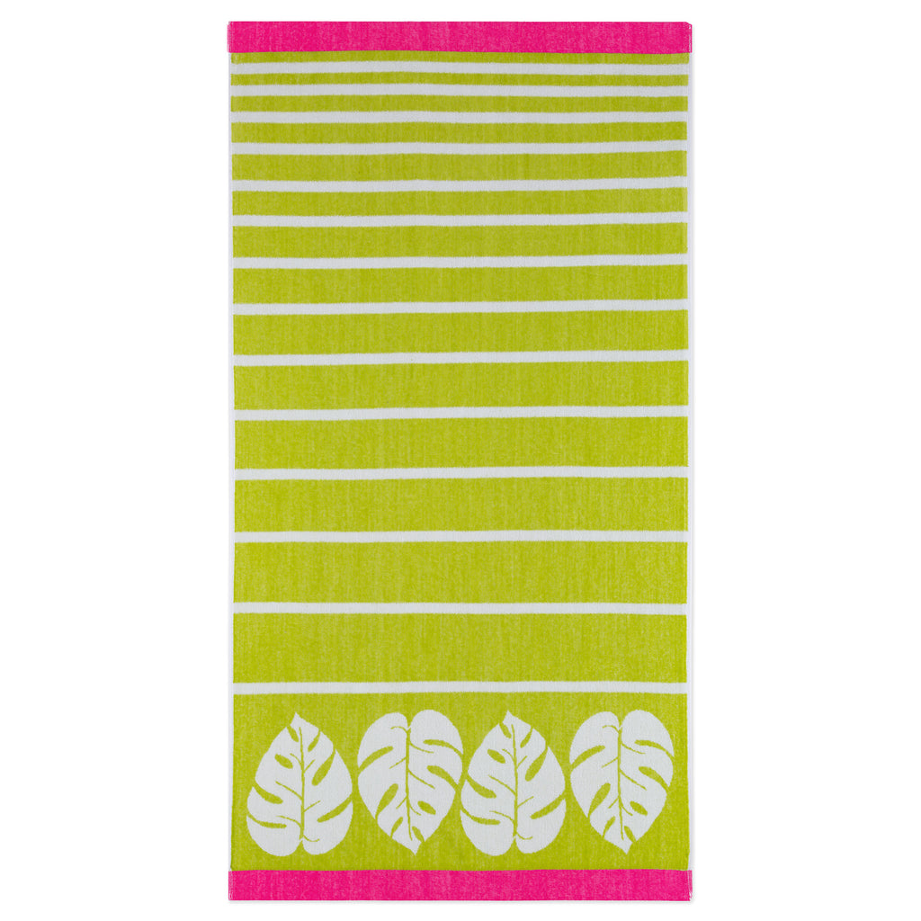 Bright Velour Beach Towels leaf