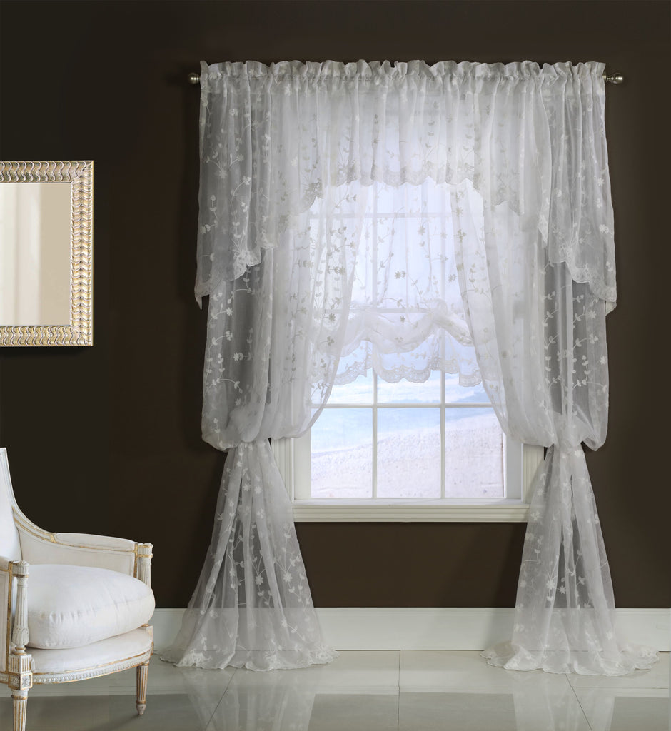GRANDEUR EMBROIDERED CURTAINS WHITE