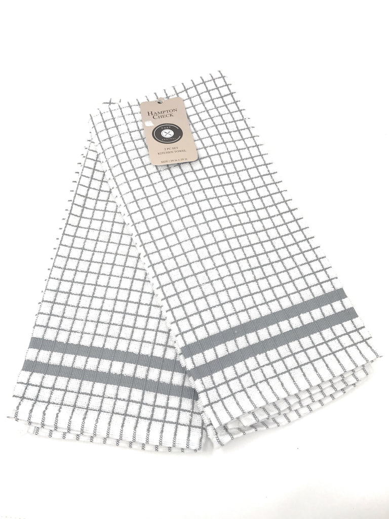 hampton check kitchen towels grey