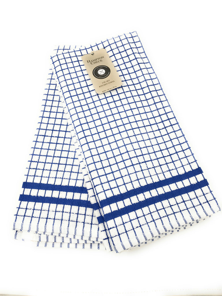hampton check kitchen towels navy