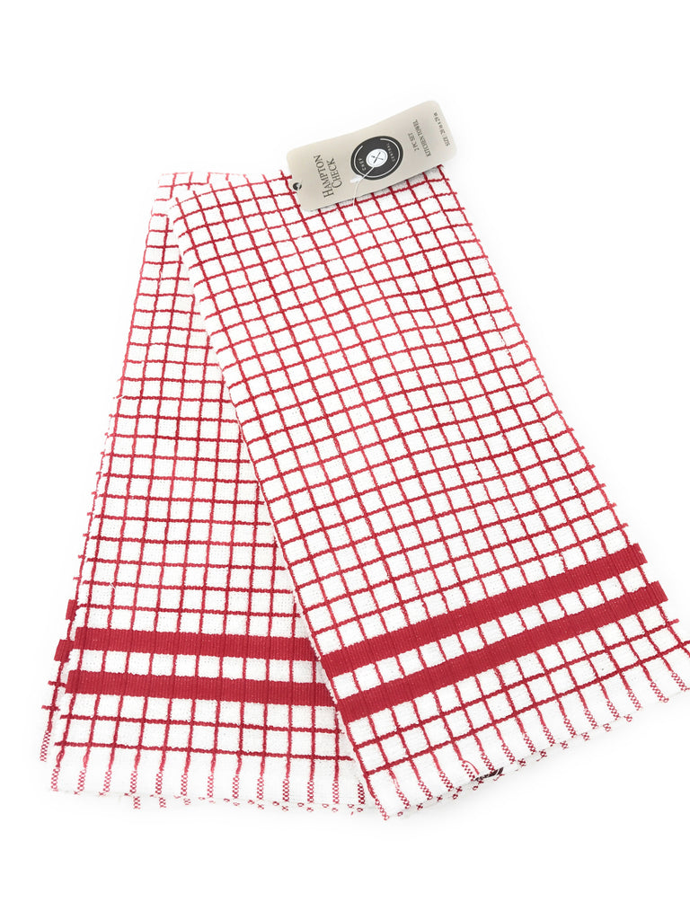 hamton check kitchen towels red