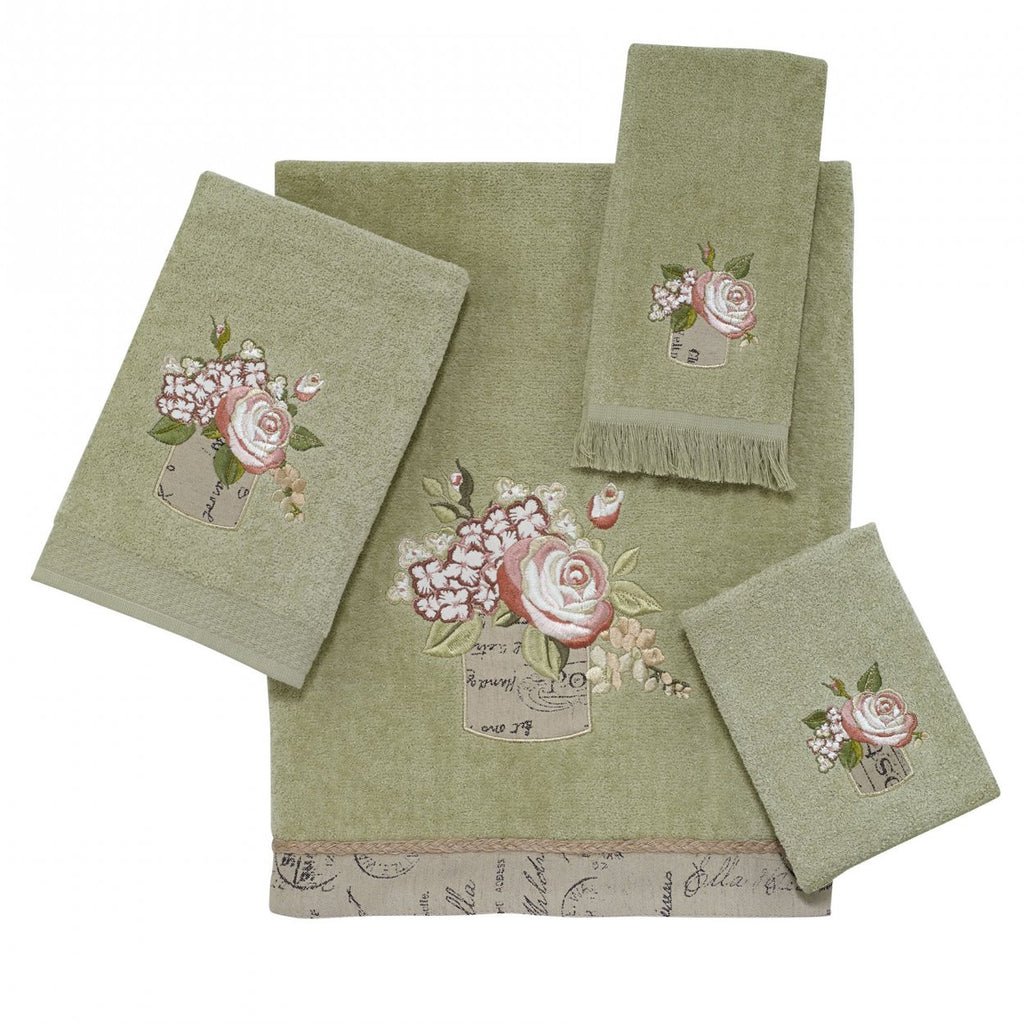 antigue bouquet towels green