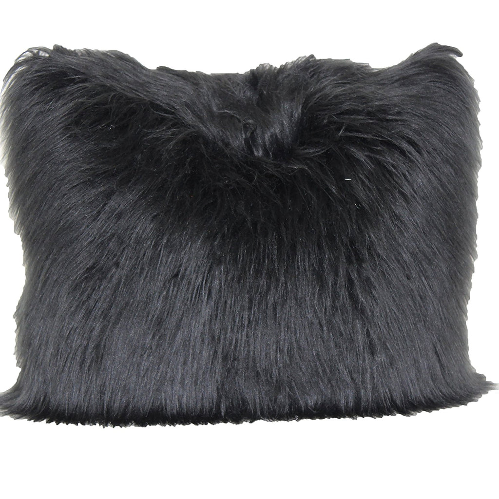 angora fur pillow black