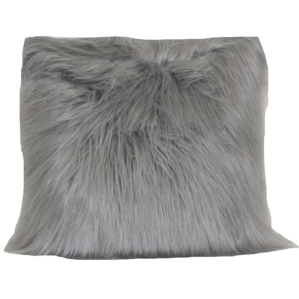 angora fur pillow grey